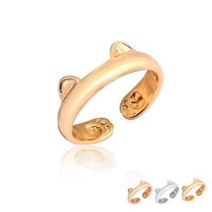 2017 nuovo arrivo all'ingrosso carino gatto orecchio regolabile e zampa donne anelli lega di metallo argento oro rosa placcato oro anello regalo moda EFR089