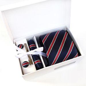 2017 جديد أزياء العلامة التجارية مخطط الرجال الرقبة العلاقات كليب المنديل cufflinks مربع مجموعات ملابس رسمية الأعمال حفل زفاف التعادل ل رجل k02