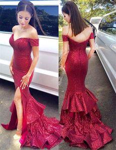 Off-a-ombro varrer trem vermelho lantejoulas vestido de dama de honra com babados saia sereia vestido de festa de casamento vestido de lantejoulas