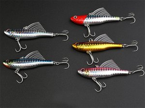 Haute Quanlity Wobbler Natation Imitation Nageoire Poisson Crayon Crankbaits Leurre Crochets 7cm 18g 5colors Coulée Laser Appâts artificiels