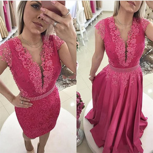 2019 New Fuchsia Arabic Lace Prom Dresses Jewel Appliques Pearls Detachable Skirt Evening Party Pageant Gowns Robe De Soiree Cheap Custom