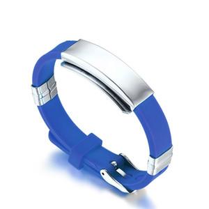 Silicone Desporto Bracelet para as Mulheres Homens Stainless Steel Medical Alert ID Tag Pulseira Pulseira Amizade presente