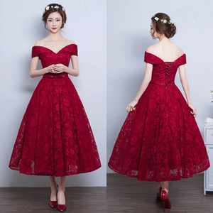 Barato Comprimento do Chá Vestidos de Baile Dard Vermelho Borgonha Rendas A Linha Evening Partido Vestidos Fora do Ombro Curto Custom Made Prom Vestido