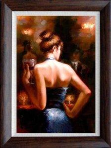 Incorniciato bar ragazza 100% dipinto a mano impressionismo ritratto arte pittura a olio, su tela di alta qualità Home Decor multi formati