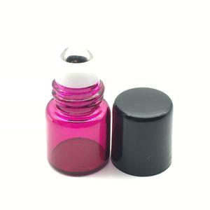 Vazio Mini Rosa-Vermelho Perfume 1 ml rolo de garrafas de vidro Garrafa De Vidro De Rolo De Metal Roller Bola Garrafa de Óleo Essencial Garrafa de Amostra