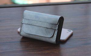 Кожаный держатель карты ручной работы кредитной карты рукав визитная карточка мода кожаный мешок швейные двойной мешок денег коровьей держатель карты для мужчин