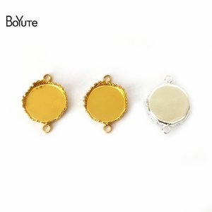 BoYuTe New 40Pcs Round 15MM Cameo Cabochon Base Setting Connector Charms Base with 2 Loops Diy Bracelet Jewelry Accessories