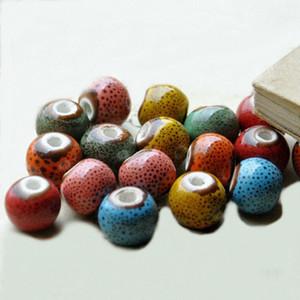 12mm Ronde Couleur Glacage En Céramique Spacer Perles En Céramique Perles À La Main 3mm Perles De Trou Pour Bracelet Collier Bijoux Composants