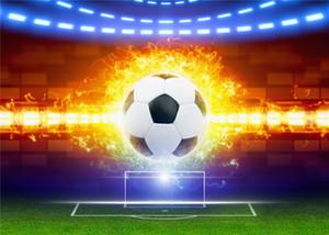 SUSU Flaming Football Kickoff Fotografia Backdrops 7x5ft Green Grassland Campo De Futebol Photo Background para Crianças Brincam Festa Estúdio