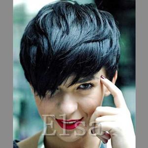 Bob Cut Wig Peruvian Hair Short bob wigs For Black Women With Bangs Human Hair Pixie Wigs