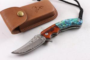 Новое прибытие VG10 Дамаск Флиппер складной нож 58HRC кислоты филиал дерево + ушка shell ручка EDC карманный нож подарочные ножи Рождественский подарок