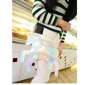 New laser mirror unicorn pony Messenger bag shoulder bag personalized tide pony bag high-quality environmental unicorn satchel