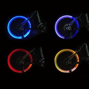 Atacado-Bicicleta de Ciclismo Pneu Válvula Tampas de Luz Neon Roda Raios LED Flash Lamp Bulb bicicleta luz bicicleta luz