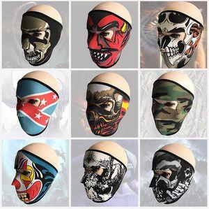 campana de caza táctica a prueba de polvo facial máscaras fantasma cráneo de la máscara del partido de la motocicleta Esquí Ciclismo Capucha completa cosplay miedo máscara de cara completa