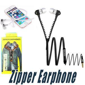 3,5 millimetri Zipper la cuffia In Ear auricolari Cuffia con telecomando e microfono Zipper auricolari per Andriod Smart Phone