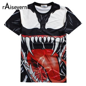 Venta al por mayor- Raisevern 2016 Nueva camiseta 3D Venom Imprimir Casual Camiseta Top Harajuku Punk Shirts Estilo de verano T-shirt Hombres Mujeres Moda Tops