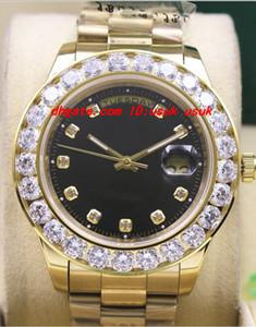 Luxus Armbanduhr 18k Gelb Gold Schwarz Zifferblatt 41MM 18038 Größere Diamant Lünette Automatische mechanische Männer Uhren Top Qualität
