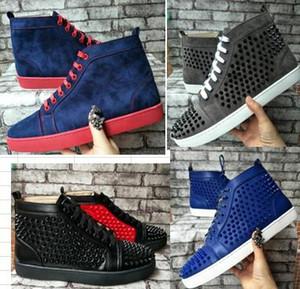 Novo atacado High Top Cravejado Spikes Apartamentos Casuais Fundo Vermelho Para Homens sapatilhas Sapatilhas Sapatos de Designer de Festa Sapatos de Couro Genuíno 36-47