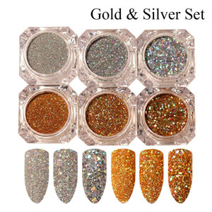 3 pcs / 6 pcs Moda Shinning Ouro / Prata DIY Manicure Nail Art Poeira Glitter Paillette Laser Em Pó Lantejoulas