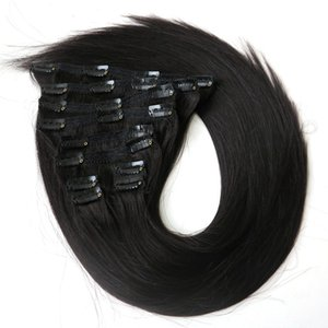 """160g 22 """"clipe em cabelo extensões indian Remy cabelo humano 10PCS cor preta"""