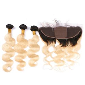 Rubia Ombre Base de seda 13x4 Cierre completo de encaje con paquetes Body Wave Two Tone 1B / 613 Ombre Brasileño cabello virgen con seda frontal