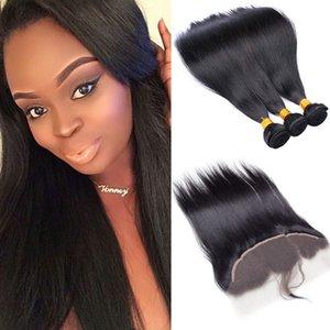 Günstige Virgin Brazilian Hair 3 Bundles mit Spitze Frontal Natural Black verworrene gerade Webart Haar-Verlängerungen Arten für Großhandel