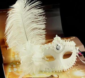 Ball Dance Party Half Face Mask Woman Máscaras con plumas de avestruz Halloween Masquerade White Luxury Venice Mask Evening Cosplay