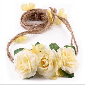 Nouveau Design Bébé Rose Fleur Guirlandes Réglés Bandeaux Floral Mariage Mariée Coiffure Princesse Enfants Plage Cheveux Accessoires