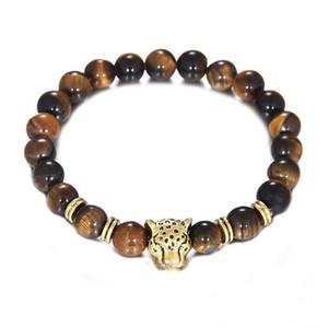 Ojo piedras encanto 8mm joyería de Yoga Nuevas cuentas pulseras Tigre energía natural de los brazaletes de oro pulsera unisex leopardo León