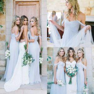 2020 Простой драпированные Sky Blue -плеча Бич Boho Длинные платья невесты Bohemian Свадеб Гость Bridesmaids мантий Дешевые