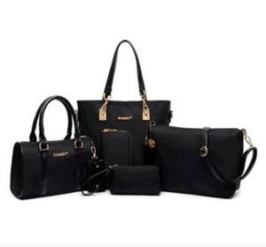 Kirpik çantası 6 adet / takım 2017 Yönlü kadın çanta çanta omuz büyük Fermuarlı çanta el dokuma Polyester Debriyaj Yumuşak Çanta