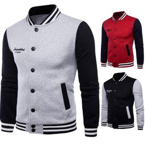 Chaqueta de béisbol de talla grande Mens Stand Collar Cardigan Hombres Hip Hop Chaqueta Abrigos Patchwork Diseño Delgado Otoño Outwear Jacket Para Hombres T170714