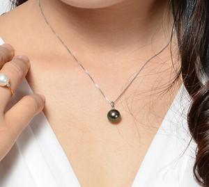 Nueva joyería de perlas real 100% genuina enorme 12mm collar de perlas negras cadena de perlas 18 pulgadas perla redonda natural sin falsificación