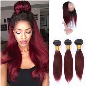 Paquetes de cabello humano Ombre 3Pcs con 360 Frontal de encaje Cierre 99j Borgoña Pre desplumado 360 frontal de banda de encaje con Paquetes de cabello