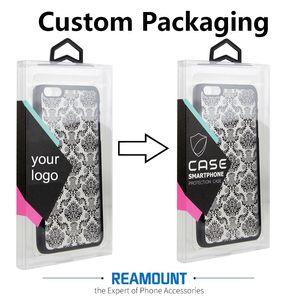 Venta al por mayor Universal en blanco Transparente PVC caja de embalaje con percha de colores para iphone 7 4.7 pulgadas para iphone 7 plus 5.5 pulgadas caja del teléfono celular