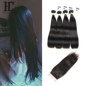 HC Hair Malaysian Straight Virgin Hair Weaves 4 Bundles With Lace Closure Unprocessed Malaysian Remy Human Hair Closures