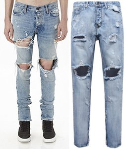2018 Hip Hop Mens Designer Jeans Men Hole on Knee Light Blue Denim pants Plus Size