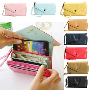 Wholesale- Fashion Girls Love Crown Smart Pouch Wallet PU Leather Portable Mobile Phone Bag Case LXX9