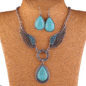 Mode Vintage Halskette Set Antik Silber Türkis Schmuck Set Ohrringe Klassische Anhänger Design Edlen Schmuck Sets