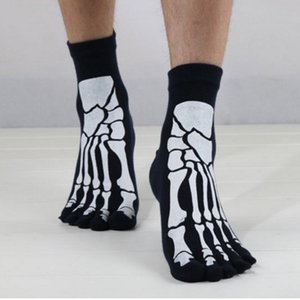 Punk Rock Mens Chaussettes Impression 3D Terror Squelette Toe Hip Hop Effrayant Crâne Cinq Doigt Fiber De Bambou Chaussettes