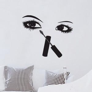 Wimpern Make-up Wandaufkleber Schönheitssalon Room Decor Kreative Wandtattoos Vinyl Sexy Augen Wandmalereien