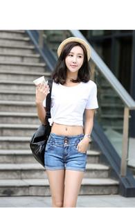 Free shipping Denim shorts female high waist was thin body three buckle trendy jeans JW033 Women's Jeans