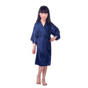 2017 Niñas de verano Sólido Rayón Seda Robe Ropa de dormir Lencería Nightdress Pijamas Satin Kimono Bata PJS Albornoz Vestido femenino 6pcs / lote # 4027