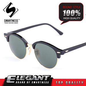 Handgemachte top hot 2016 vintage retro runde rahmen sonnenbrille 04246 G15 glaslinse Eyewears gläser verbot für frauen männer Fahren Angeln Outdoor