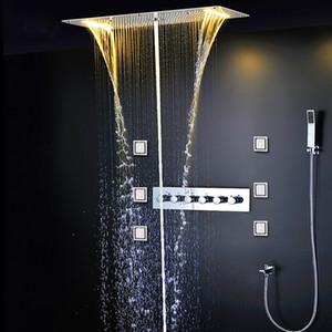 5 기능 샤워 세트 현대 럭셔리 유럽 스타일 대형 SUS304 온도 조절 믹서 폭포 강우량 욕실 Led 천장