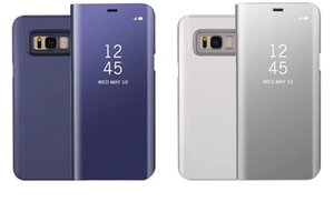 Espelho carteira caso oficial para iphone xr xs max x 10 8 7 galaxy s10 lite nota s9 9 8 S8 Flip Chapeamento De Couro Janela Inteligente Metálico Cromado
