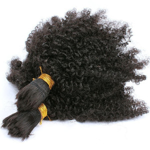 Afro Kinky Curly Hair Bulk For Braiding 10A Brazilian Human Hair 3 Pcs lot Hair Bulk For African American