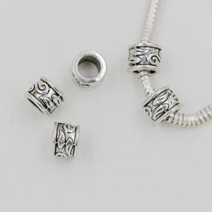 Caliente ! 100pcs de plata antigua de 5.5 mm de aleación de zinc agujero de tubo espaciadores del grano del encanto Fit pulsera