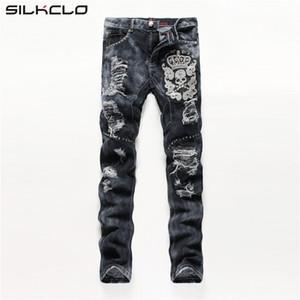 Wholesale-European American Style men fashion jeans cotton luxury quality slim skulls brand Straight men hole jean black denim trousers