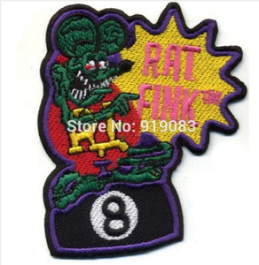 "4 ""Rat Fink Patch Hot Rod Abzeichen Drag Rennen Kustom Kulture 8 Ball Jacke Halloween MC Biker Weste Transfer Jacke Brustübertragung"